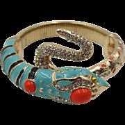 Enamel and Rhinestone Expandable Snake Bracelet