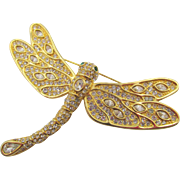 Large Dragonfly Gold Plated Crystal Rhinestone Brooch