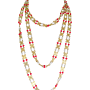 Long Single Strand Faux Pearl and Faux Red Coral Filigree Necklace 78 in.
