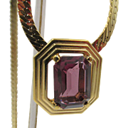 Christian Dior Purple Rhinestone Snake Chain Necklace