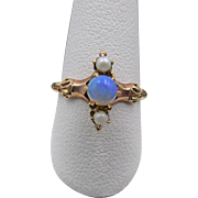 Victorian 10k Opal and Pearl Engagement Ring