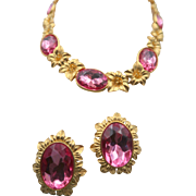 Trifari by Kunio Matsumoto Pink Lily Necklace and Earring Set