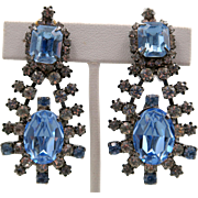 Lawrence Vrba Drop Pale Blue Rhinestone Earrings