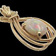 Vintage 14k Gold Genuine Opal Pendant