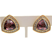 Christian Dior Purple Rhinestone Clip Earrings