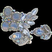 Blue Moonstone Art Glass Brooch and Earrings