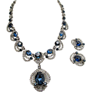 Outstanding Kramer of New York Midnight Blue Crystal Rhinestone Necklace and Earrings