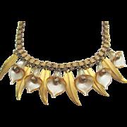 Art Deco Calla Lily and Leaf Brass Bookchain Necklace