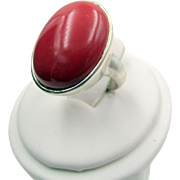 Sterling Silver Carnelian Cabochon Ring