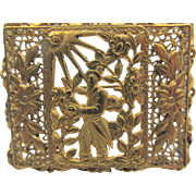 Art Deco Czechoslovakia Stamped Filigree Brass Scene Brooch Unusual