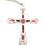 Signed Hobe Vintage Cross Garnet Glass Rhinestones and Enamel Necklace