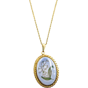Gold Filled Bing Grondahl Porcelain Lily of the Valley Necklace