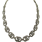 Quality Vintage 925 Sterling Marcasite Necklace