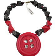 Angela Caputi Resin + Rhinestone Black + Red Necklace
