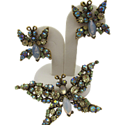 Florenza Trembler Yellow + Opalescent Butterfly Brooch and Earring Set