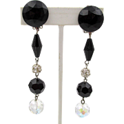 "Les Bernard Black Plastic and Crystal 3.5""  Dangling Earrings"