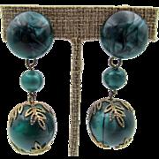 Paris Drop Green Marbled Clip Earrings
