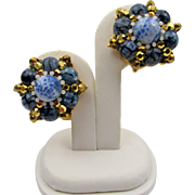 Jose Barrera Couture Blue Glass Bead Clip Earrings