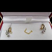 10K Gold Diamond Pierced Earrings