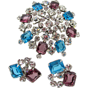 Crystal, Aqua Blue and Purple Rhinestone Brooch and Sterling Earring Set