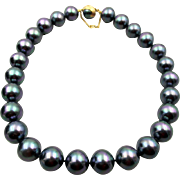 Exquisite Majorica Gray Simulated  Pearl Necklace - 18 in Sterling