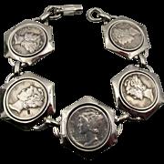Vintage 1941 - 1945 Mercury Dime Bracelet