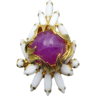 "Verified DeLizza and Elster Juliana ""Venus Flame"" Pink Pin/Pendant"