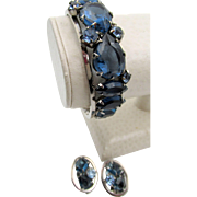 Midnight Blue Rhinestone Clamper Rhodium Plated Bracelet and Earrings