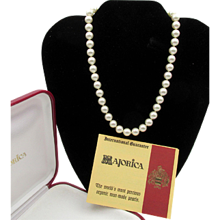 Exquisite Majorica Simulated Pearl Knotted Necklace - 16 in Sterling