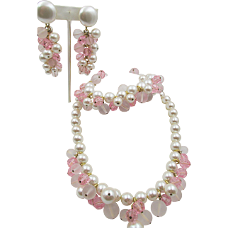 Lovely Napier Faux Pearl and Frosted Pink Beaded Necklace 3 pc. Set