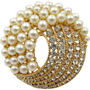 Crown Trifari Swirls of Faux Pearls and Rhinestones Brooch