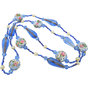 Venetian Blue Wedding Cake Glass Beaded Necklace - 26 inches