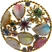 Austria Pastel Enamel and Rhinestone Brooch Signed