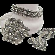 Weiss Black Diamond 1950s Bracelet, Brooch and Earring Set