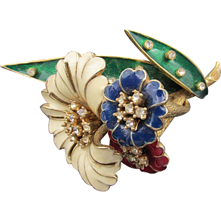 Ciner Red, White and Blue Enamel and Rhinestone Floral Cluster Brooch