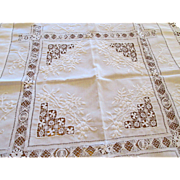 Vintage White Drawn Work, Embroidery and Crocheted Lace Centerpiece Tablecloth