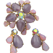 Vintage Orchid and Fire Opal Glass Rhinestone Brooch and Earrings