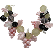 Vintage French Lucite Grapes, Flowers, Leaves Pastel Beaded Necklace