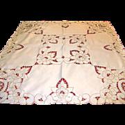 Vintage German Cutwork Ecru Cream Tablecloth Centerpiece