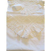 Pair of European White Eyelet and Embroidery Lace  Pillow Shams