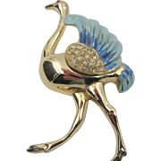 Early Signed Coro Ostrich Enamel and Rhinestone Brooch