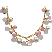 Vintage Napier Frosted and Pink Beaded Dangle Necklace