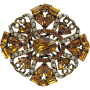 1953 Hollycraft Citrine Rhinestone and Faux Seed Pearl Brooch