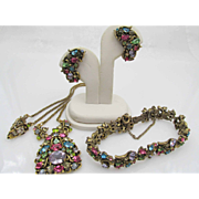 1950 Hollycraft Pastel Rhinestone Necklace, Bracelet and Earring Set Parure