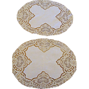 Pair of Off White Oval French Lace Doillies