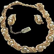 Crown Trifari Pearl and Rhinestone Necklace and Earrings in Orig Presentation
