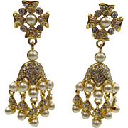Kenneth Jay Lane KJL Chandelier Faux Pearl and Rhinestone Earrings