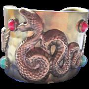 Victorian Egyptian Revival Serpent Hammered Brass Cuff Bracelet