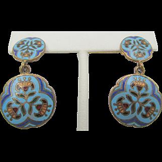 Vintage Champleve Blue Enamel Brass Drop Earrings