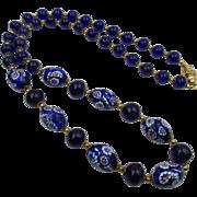 Vintage Venetian Cobalt Blue Millefiori 26 in Necklace
